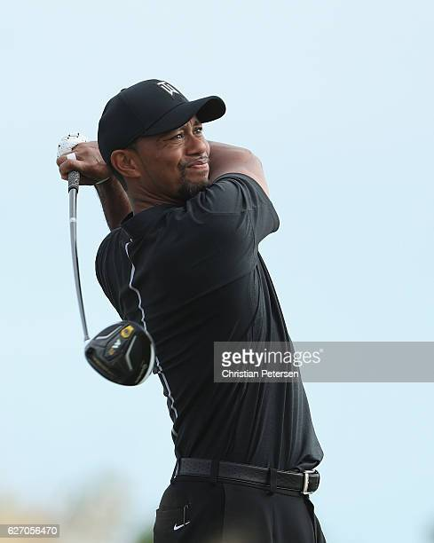 Tiger Woods of the United States hits his tee shot on the 13th hole during round one of the Hero World Challenge at Albany The Bahamas on December 1...
