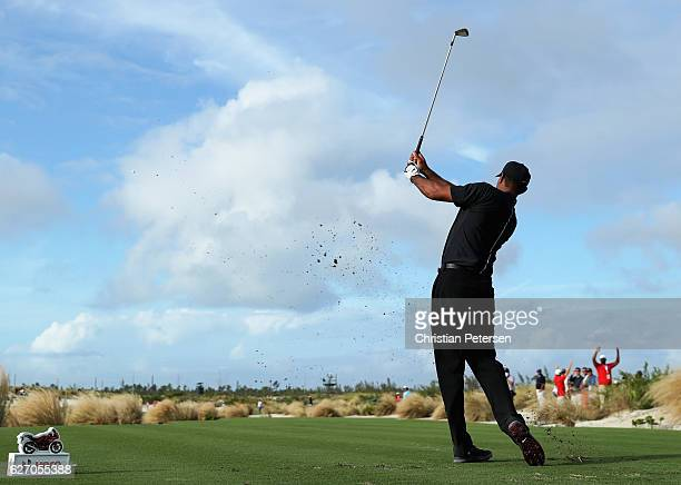 Tiger Woods of the United States hits his tee shot on the 17th hole during round one of the Hero World Challenge at Albany The Bahamas on December 1...