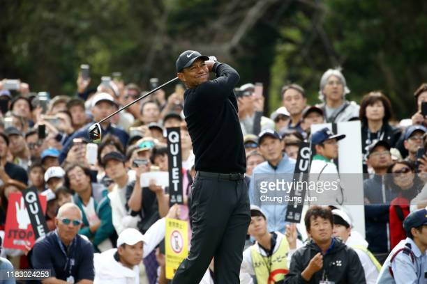 Tiger Woods of the United States hits his tee shot on the 8th hole during the first round of the ZOZO Championship at Accordia Golf Narashino Country...