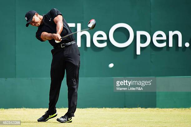 Tiger Woods of the United States hits his tee shot on the first hole during the second round of The 143rd Open Championship at Royal Liverpool on...