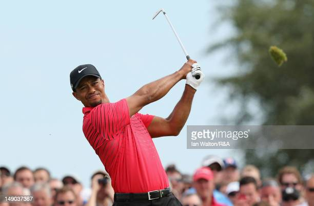 Tiger Woods of the United States hits his tee shot on the fourth hole during the final round of the 141st Open Championship at Royal Lytham & St....