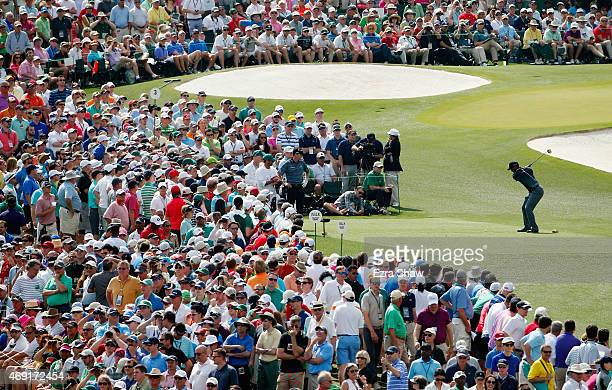 Tiger Woods of the United States hits his tee shot on the third hole during the second round of the 2015 Masters Tournament at Augusta National Golf...