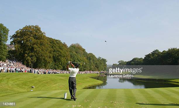 Tiger Woods of the United States hits his teeshot on the third hole during the third round of the American Express Championship at Mount Juliet Golf...