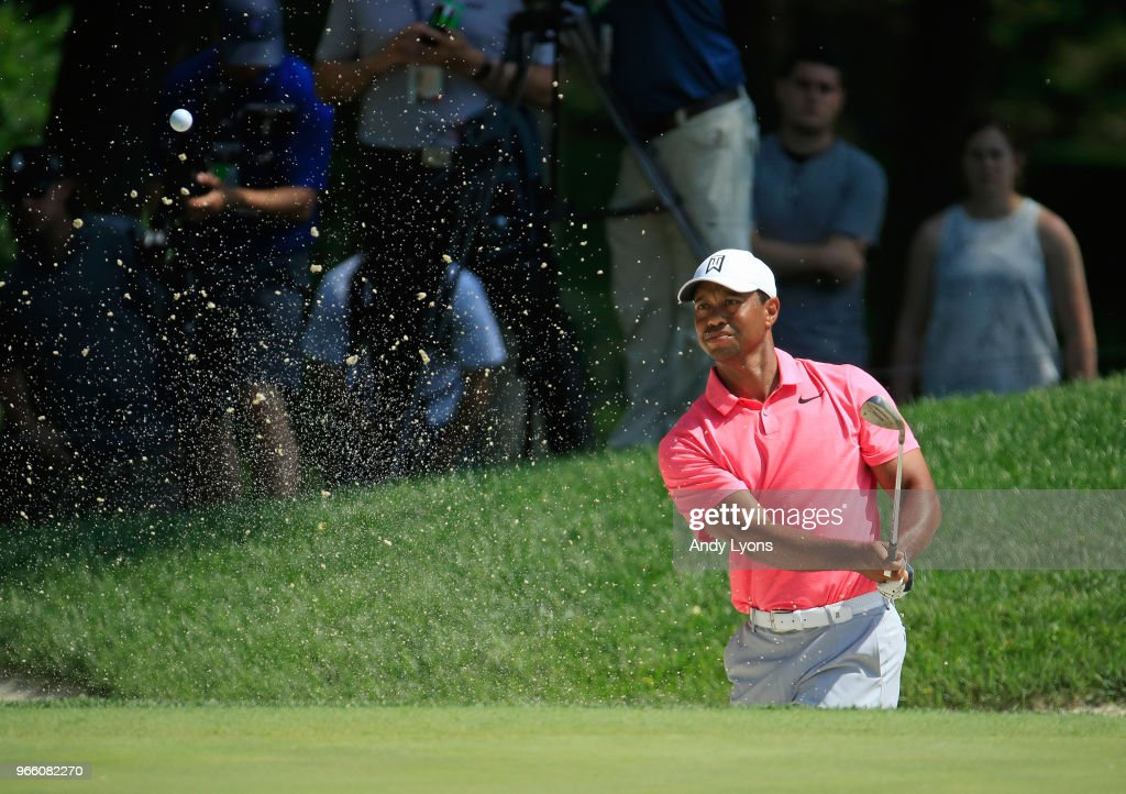 Tiger Woods of the United States hits his third shot on the first hole during the third round of The Memorial Tournament Presented by Nationwide at Muirfield Village Golf Club on June 2, 2018 in Dublin, Ohio.