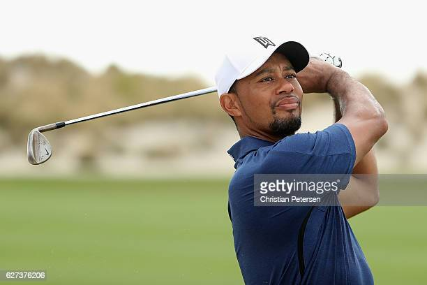 Tiger Woods of the United States hits his third shot on the third hole during round two of the Hero World Challenge at Albany The Bahamas on December...