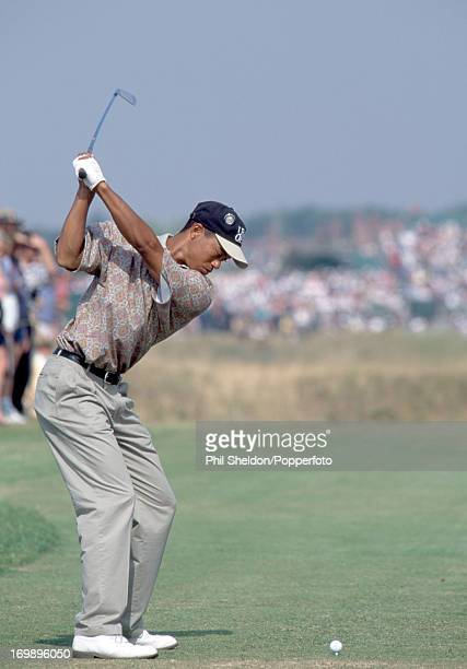 Tiger Woods of the United States in action during the British Open Golf Championship held at the Royal Lytham St Annes Golf Club circa July 1996...