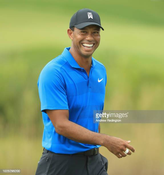 Tiger Woods of the United States in action during the Pro Am event prior to the start of the Dell Technologies Championship at TPC Boston on August...