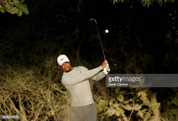 Tiger Woods of the United States in action during the pro-am for the 2017 Omega Dubai Desert Classic on the Majlis Course at the Emirates Golf Club...