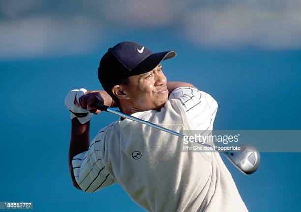 Tiger Woods of the United States in action during the US Open Golf Championship held at the Pebble Beach Golf Links in California circa June 2000...
