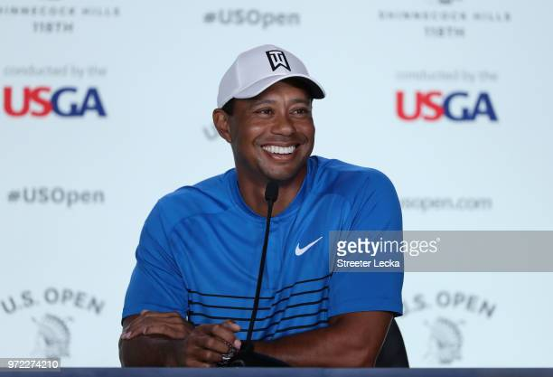 Tiger Woods of the United States is interviewed during a press conference prior to the 2018 US Open at Shinnecock Hills Golf Club on June 12 2018 in...