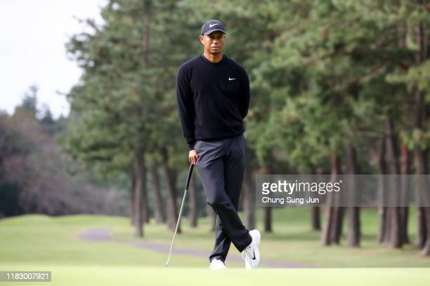 Tiger Woods of the United States is seen on the 11th green during the first round of the ZOZO Championship at Accordia Golf Narashino Country Club on...