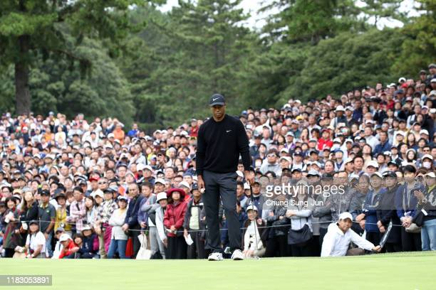 Tiger Woods of the United States is seen on the 9th green during the first round of the ZOZO Championship at Accordia Golf Narashino Country Club on...
