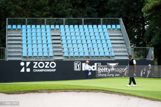 Tiger Woods of the United States is seen on the on the 17th green during the second round of the Zozo Championship at Accordia Golf Narashino Country...
