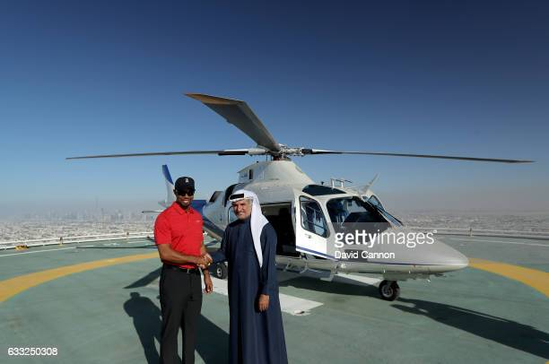 Tiger Woods of the United States is welcomed by His Excellency Saeed Hareb the Secretary General of Dubai Sports Council as he revisits the Burj Al...