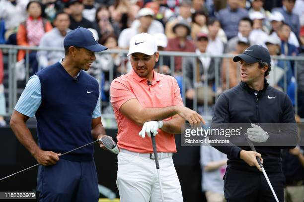 Tiger Woods of the United States, Jason Day of Australia and Rory McIlroy of Northern Ireland share a laugh on the first tee during The Challenge:...