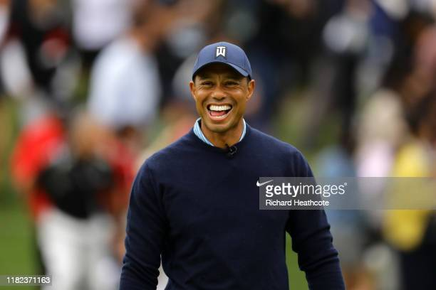 Tiger Woods of the United States laughs on the 6th hole during The Challenge: Japan Skins at Accordia Golf Narashino Country Club on October 21, 2019...