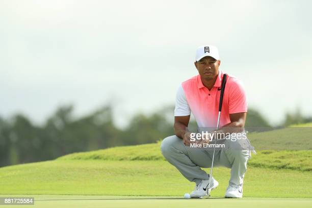 Tiger Woods of the United States lines up a putt during the pro-am prior to the Hero World Challenge at Albany, Bahamas on November 29, 2017 in...