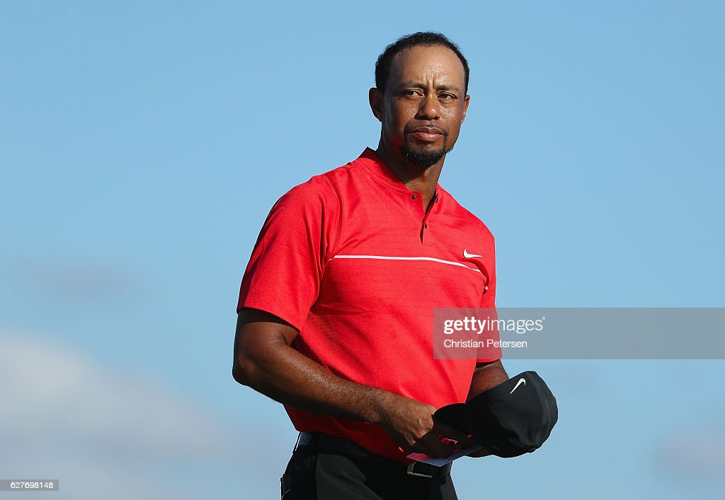 Tiger Woods of the United States looks on as he walks off the 18th hole during the final round of the Hero World Challenge at Albany, The Bahamas on December 4, 2016 in Nassau, Bahamas.