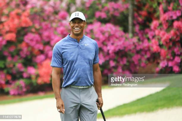 Tiger Woods of the United States looks on during a practice round prior to The Masters at Augusta National Golf Club on April 08, 2019 in Augusta,...