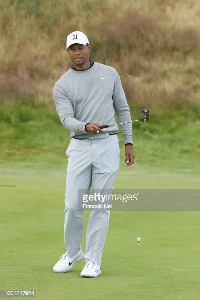 Tiger Woods of the United States looks on during previews to the 147th Open Championship at Carnoustie Golf Club on July 18 2018 in Carnoustie...