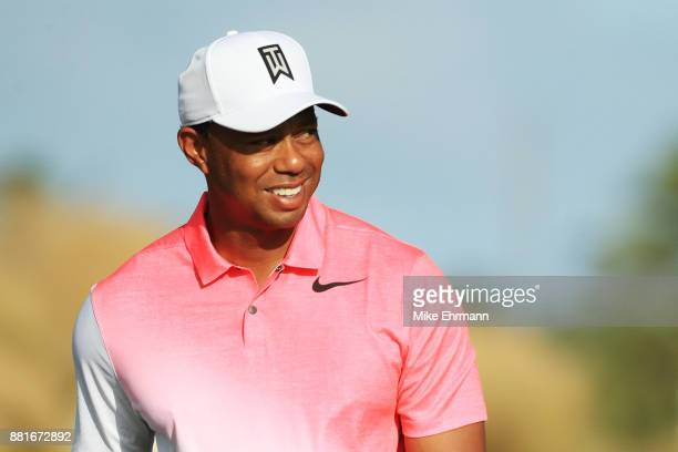 Tiger Woods of the United States looks on during the proam prior to the Hero World Challenge at Albany Bahamas on November 29 2017 in Nassau Bahamas