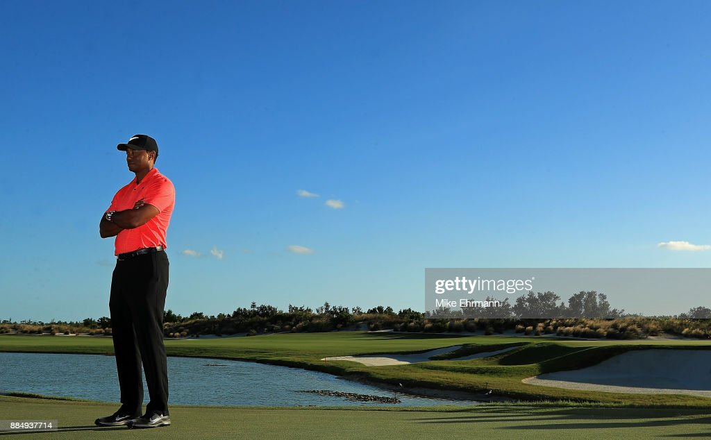 Tiger Woods of the United States looks on during the trophy ceremony of the Hero World Challenge at Albany, Bahamas on December 3, 2017 in Nassau, Bahamas.