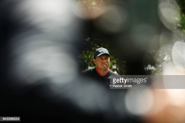 Tiger Woods of the United States looks on from the fourth tee during the final round of the 2018 Masters Tournament at Augusta National Golf Club on...