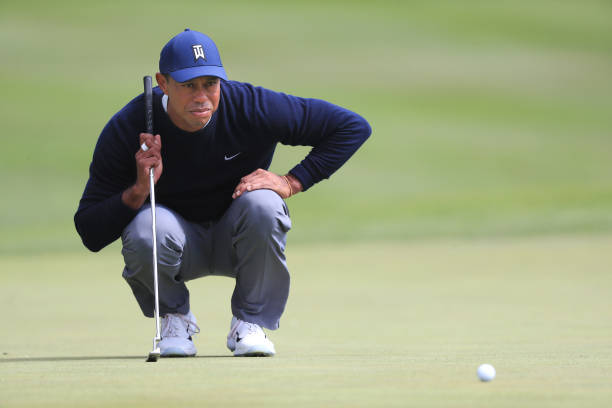 Tiger Woods of the United States looks over a putt on the sixth green during the second round of the 2020 PGA Championship at TPC Harding Park on...