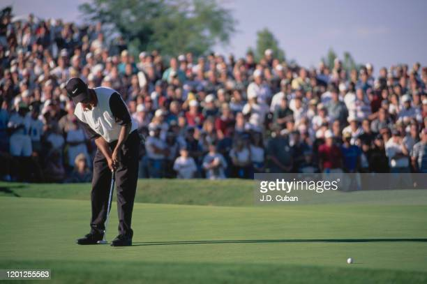 Tiger Woods of the United States on his way to his first professional golf tournament win at the PGA Las Vegas Invitational on 6th October 1996 at...