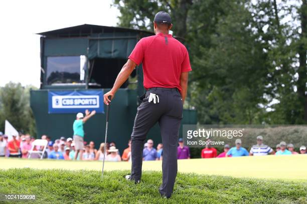 Tiger Woods of the United States on the 16th green during the Final Round of The Northern Trust on August 26 2018 at the Ridgewood Championship...