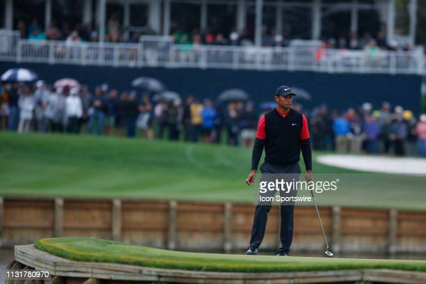 Tiger Woods of the United States on the 17th hole during the final round of THE PLAYERS Championship on March 17 2019 on the Stadium Course at TPC...