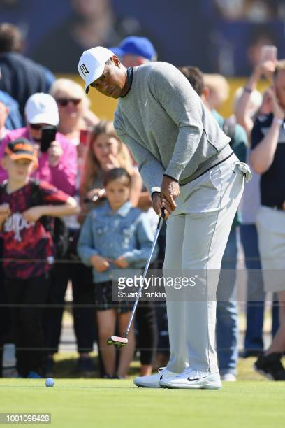 Tiger Woods of the United States on the practice putting green during previews to the 147th Open Championship at Carnoustie Golf Club on July 18 2018...