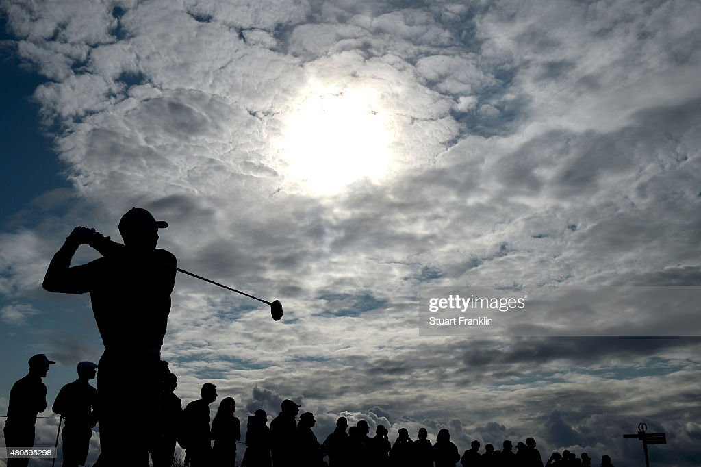 Tiger Woods of the United States plays a practice round ahead of the 144th Open Championship at The Old Course on July 13, 2015 in St Andrews, Scotland.