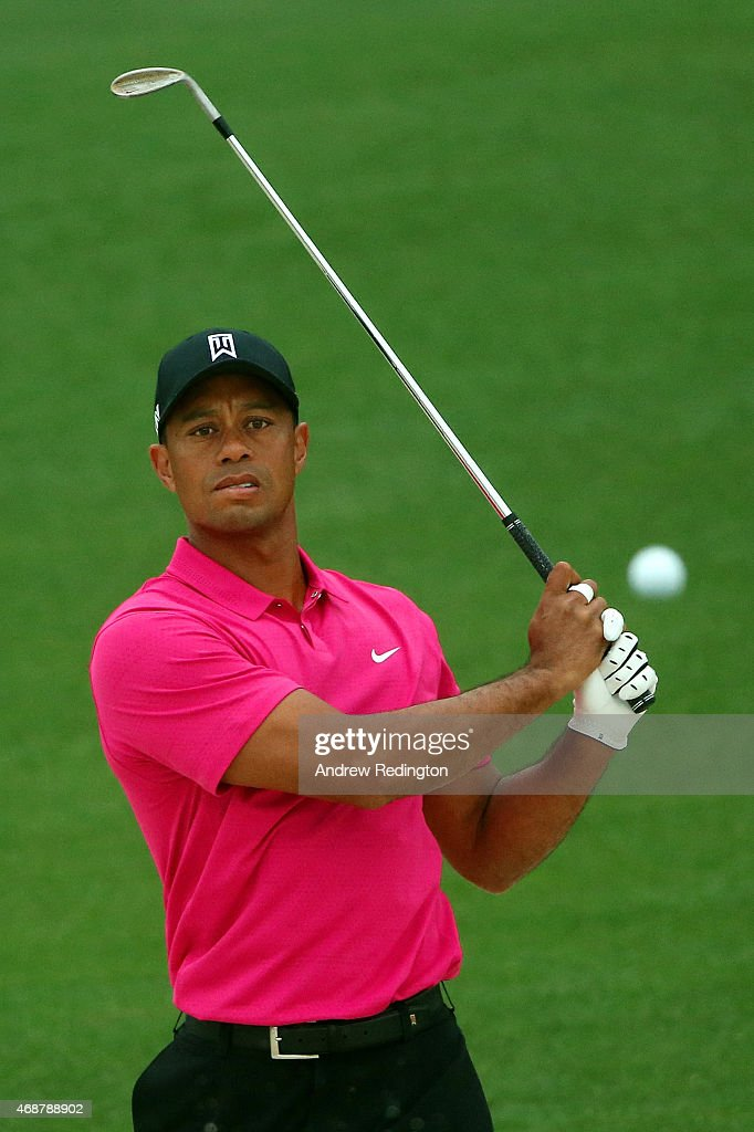 Tiger Woods of the United States plays a shot during a practice round prior to the start of the 2015 Masters Tournament at Augusta National Golf Club on April 7, 2015 in Augusta, Georgia.