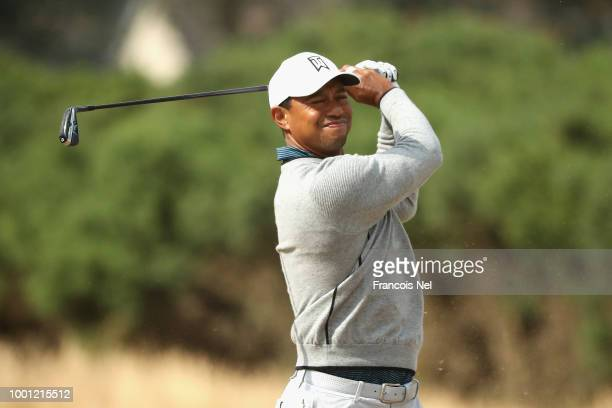 Tiger Woods of the United States plays a shot during previews to the 147th Open Championship at Carnoustie Golf Club on July 18 2018 in Carnoustie...