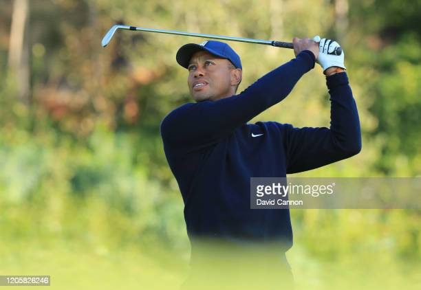 Tiger Woods of the United States plays a shot during the proam for the Genesis Invitational at the Riviera Country Club on February 12 2020 in...