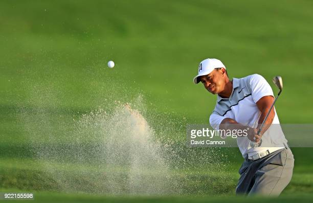 Tiger Woods of the United States plays a shot during the proam for the 2018 Honda Classic on The Champions Course at PGA National on February 21 2018...