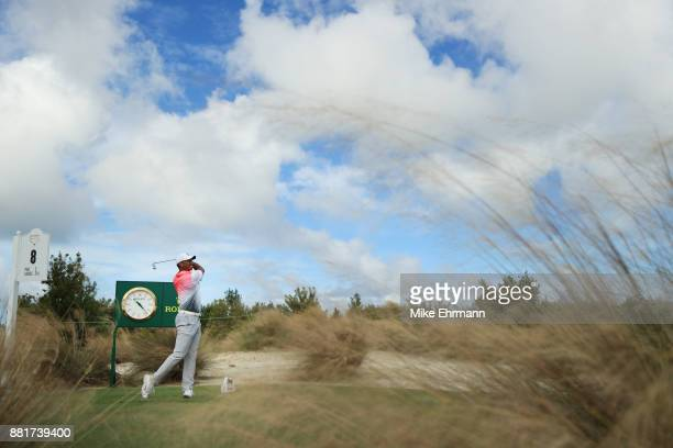 Tiger Woods of the United States plays a shot during the pro-am prior to the Hero World Challenge at Albany, Bahamas on November 29, 2017 in Nassau,...