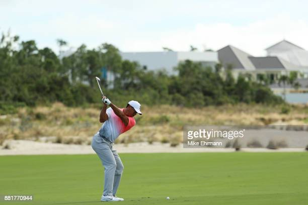 Tiger Woods of the United States plays a shot during the proam prior to the Hero World Challenge at Albany Bahamas on November 29 2017 in Nassau...