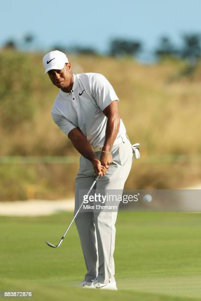 Tiger Woods of the United States plays a shot on the 17th hole during the second round of the Hero World Challenge at Albany Bahamas on December 1...