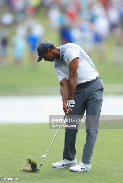 Tiger Woods of the United States plays a shot on the sixth hole during the third round of THE PLAYERS Championship on the Stadium Course at TPC...
