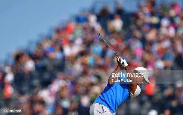 Tiger Woods of the United States plays a shot on the tenth hole during the first round of the 147th Open Championship at Carnoustie Golf Club on July...