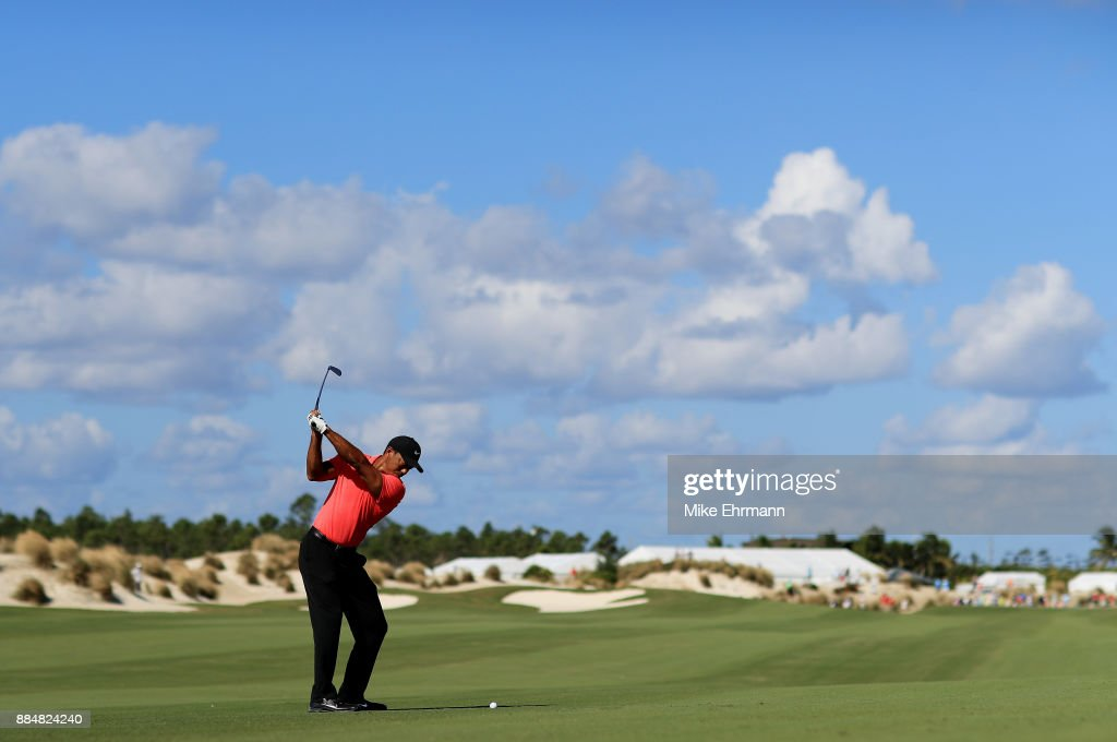 Tiger Woods of the United States plays a shot on the third hole during the final round of the Hero World Challenge at Albany, Bahamas on December 3, 2017 in Nassau, Bahamas.