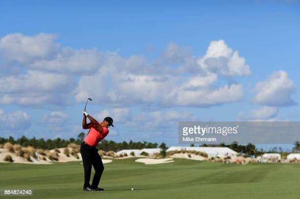 Tiger Woods of the United States plays a shot on the third hole during the final round of the Hero World Challenge at Albany Bahamas on December 3...