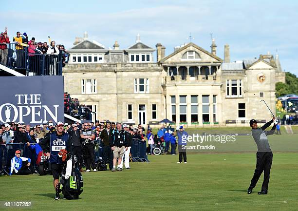 Tiger Woods of the United States plays an approach on the 1st hole during the second round of the 144th Open Championship at The Old Course on July...