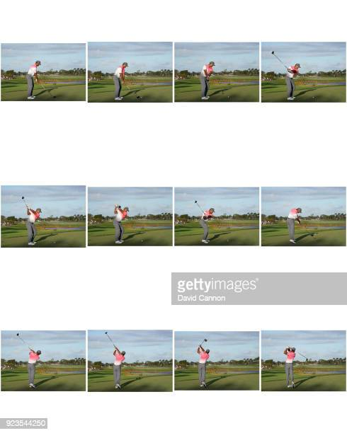 Tiger Woods of the United States plays his DRIVER tee shot on the par 5, 18th hole during the second round of the 2018 Honda Classic on The Champions...