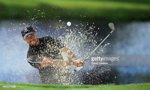 Tiger Woods of the United States plays his second shot at the par 3, 17th hole during the first round of the 2013 Arnold Palmer Invitational...