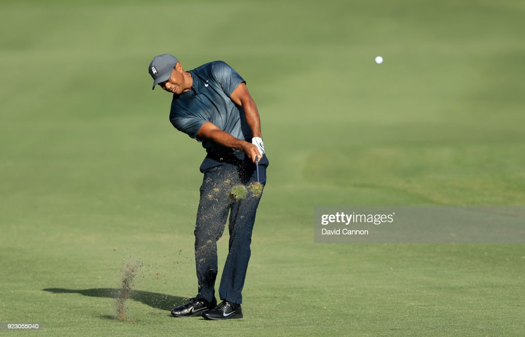 Tiger Woods of the United States plays his second shot on the 13th hole during the first round of the 2018 Honda Classic on The Champions Course at PGA National on February 22, 2018 in Palm Beach Gardens, Florida.