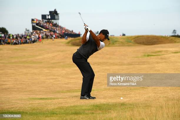 Tiger Woods of the United States plays his second shot on the 14th hole during round three of the Open Championship at Carnoustie Golf Club on July...
