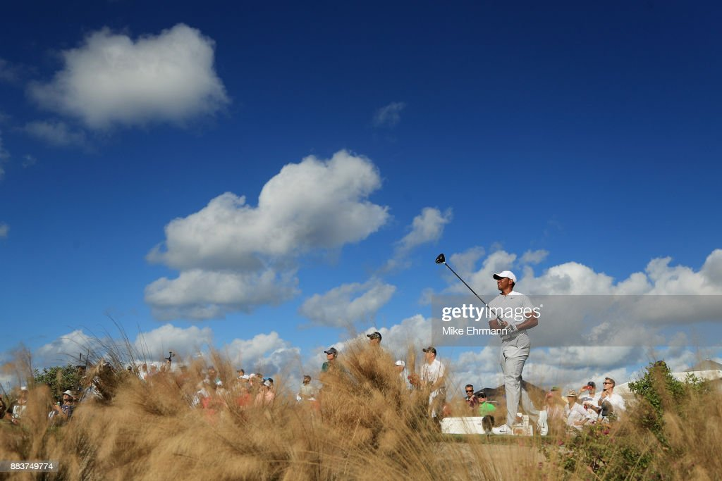 Tiger Woods of the United States plays his shot from the 12th tee during the second round of the Hero World Challenge at Albany, Bahamas on December 1, 2017 in Nassau, Bahamas.
